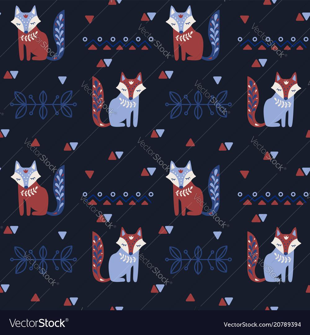 Scandinavian seamless folk pattern with fox vector image