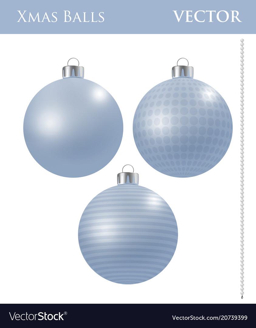 a set of light blue christmas balls vector image - Light Blue Christmas Ornaments