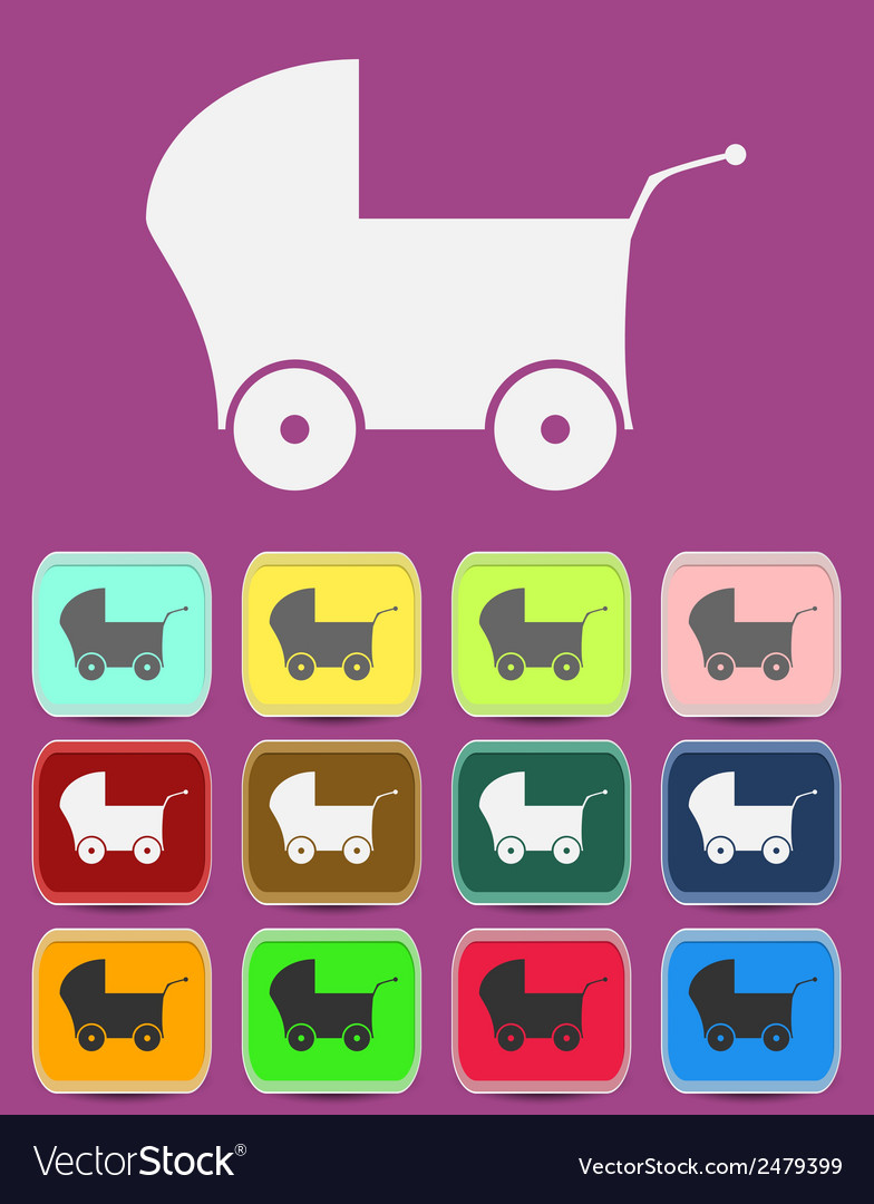 Baby Pram - icon isolated vector image