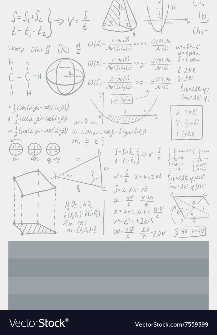 Background of white blackboard with mathematical