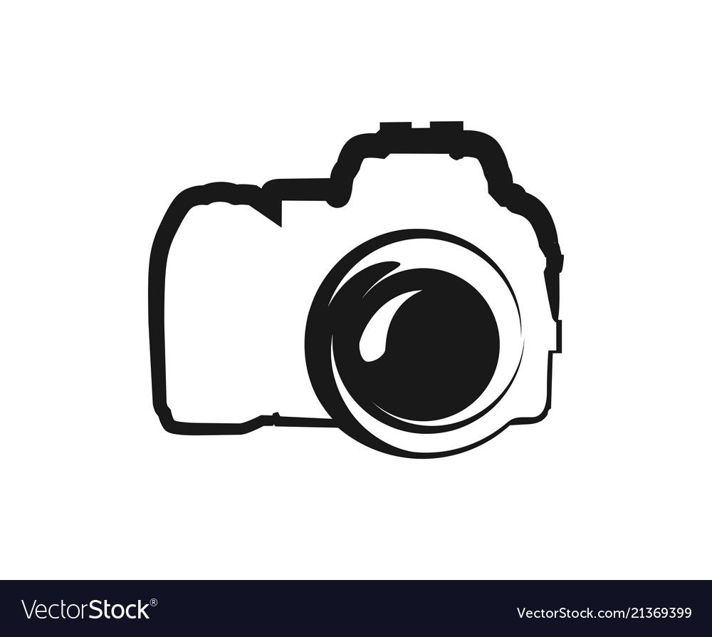 Black icon of camera isolated on white