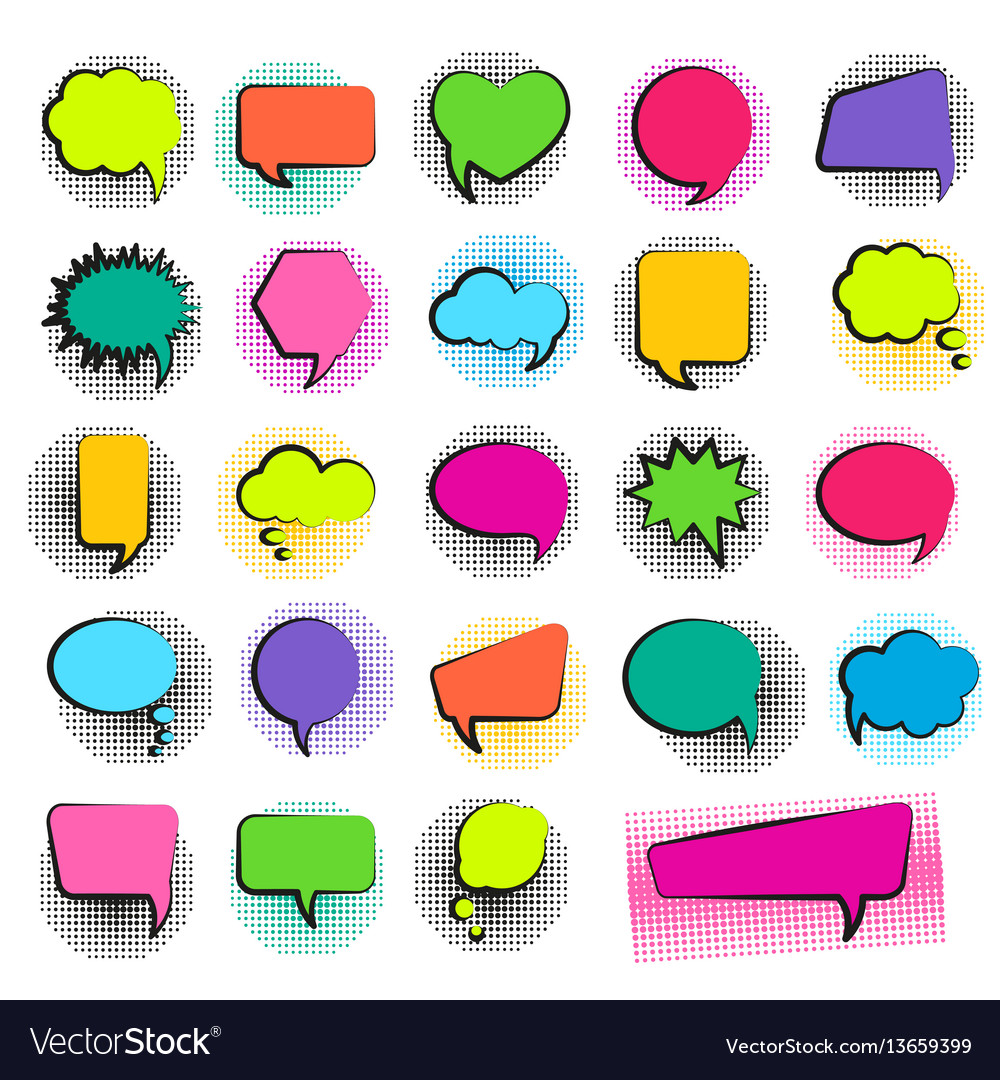 Bubble speech set in pop art style and halftone do