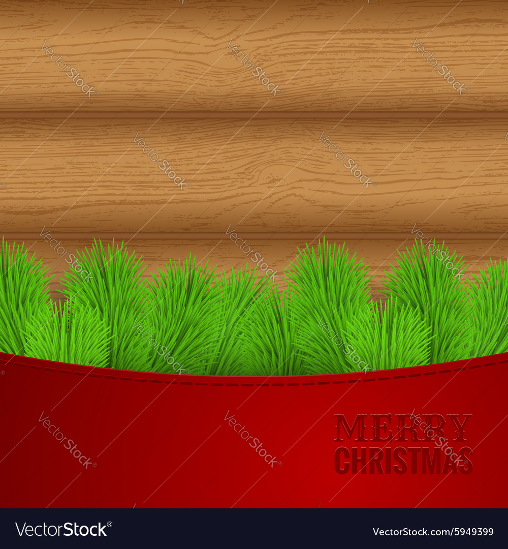 Christmas wood background with fir needles