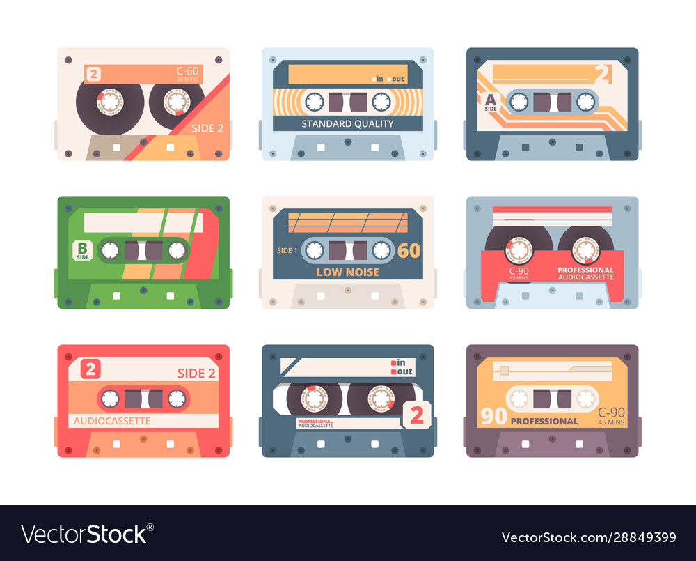 Compact cassette colorful flat