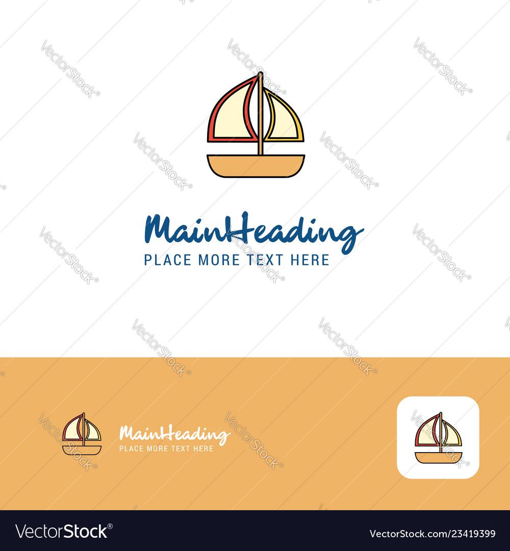 Creative boat logo design flat color logo place