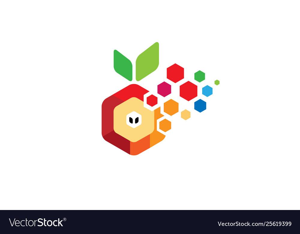 Creative w letter hexagonal pixelated orange