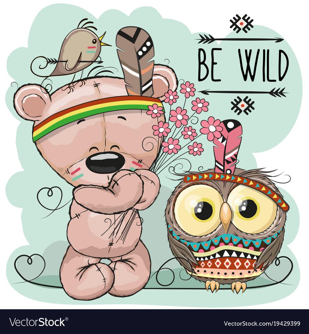 Cute cartoon tribal teddy bear and owl vector image