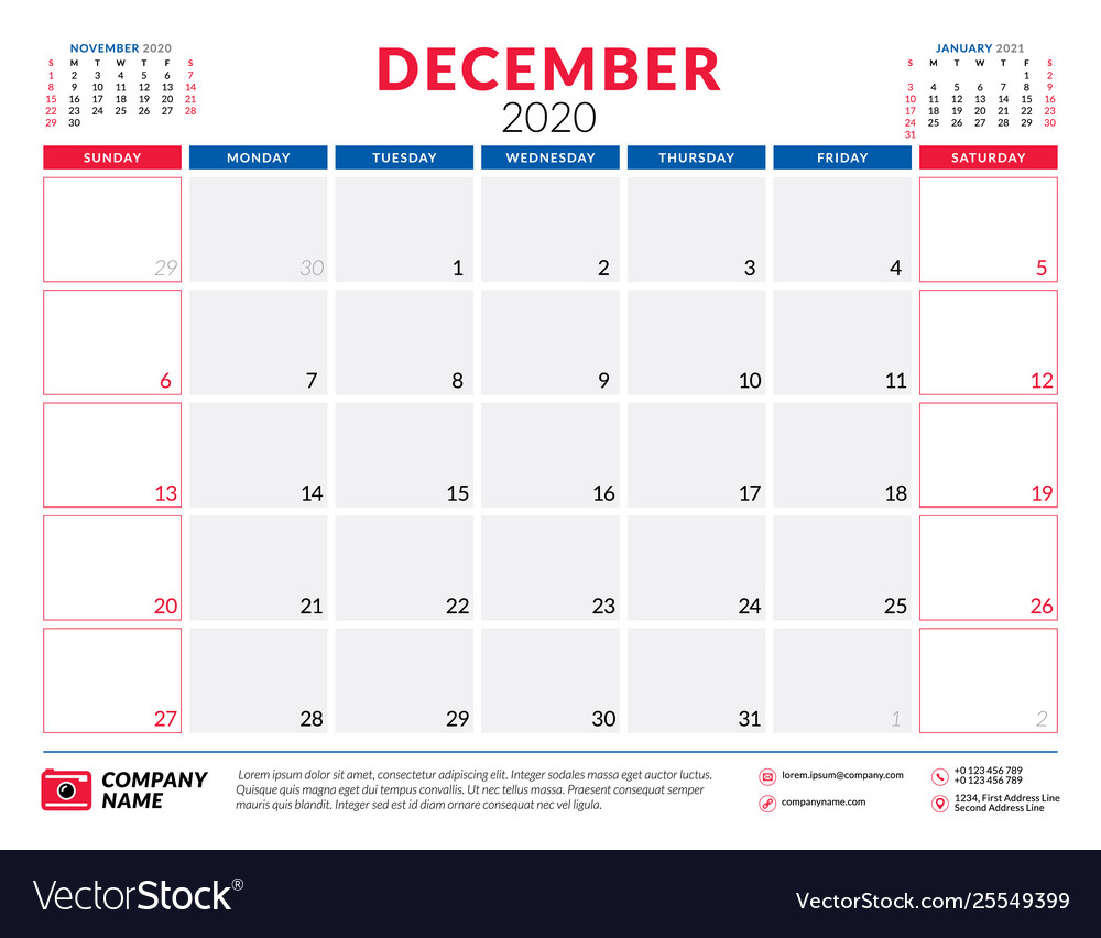 December 123 Calendar Printable 2020 December 2020 calendar planner stationery design Vector Image