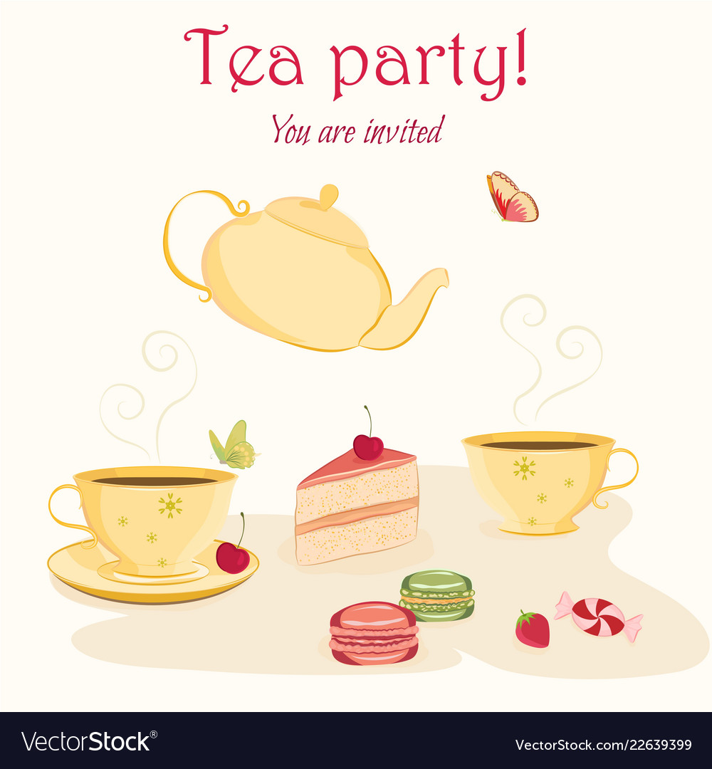 Elegant Tea Party Invitation Template With Teacups