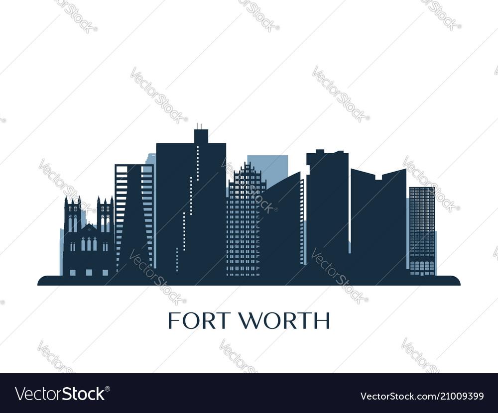 Fort worth skyline monochrome silhouette