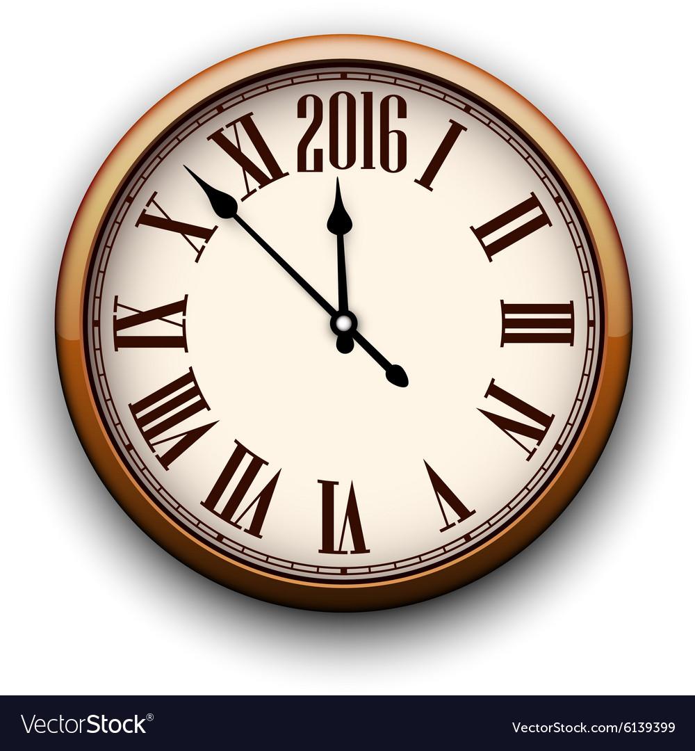 Happy 2016 year Vintage clock