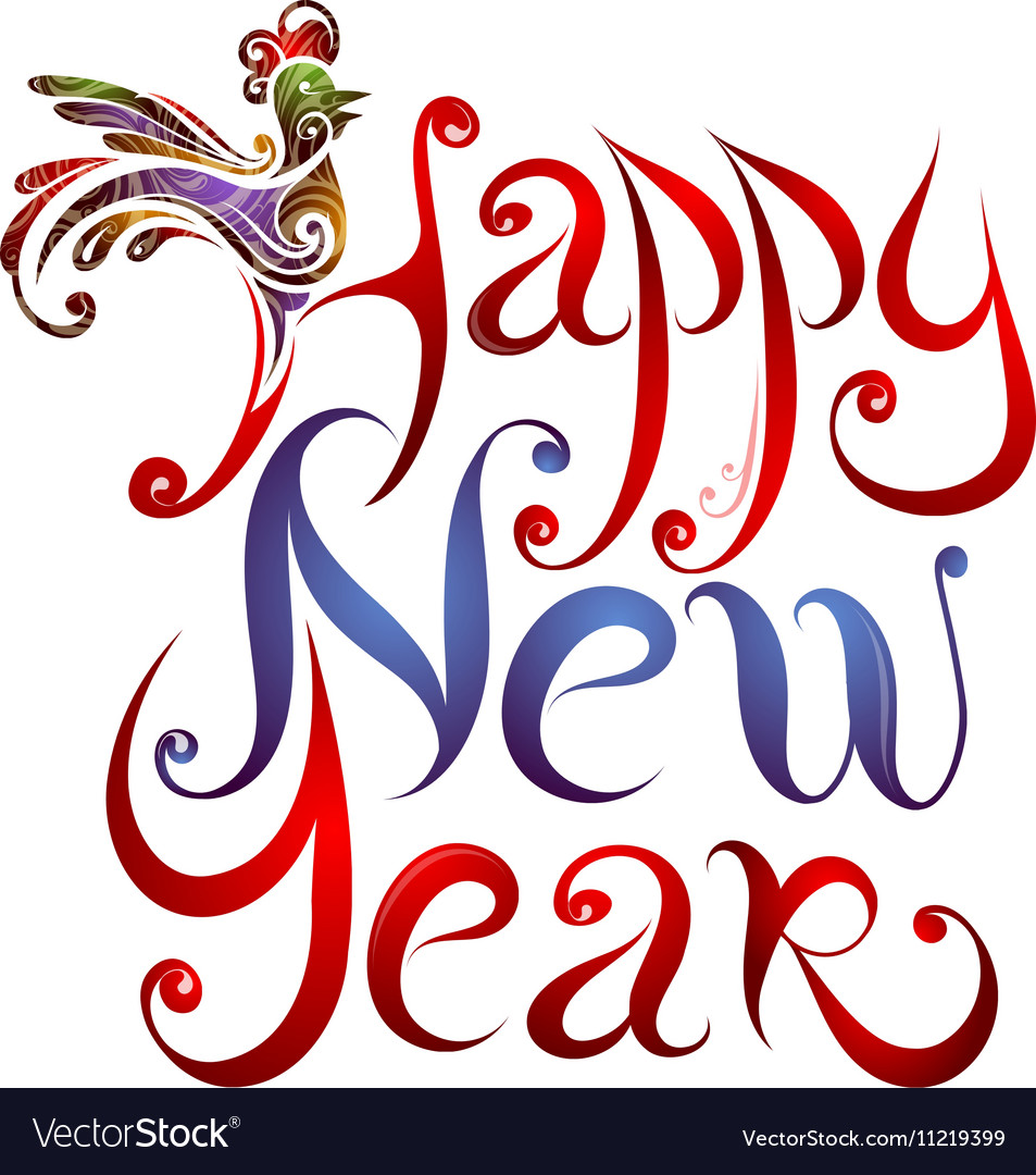 Happy new year greetings lettering with rooster