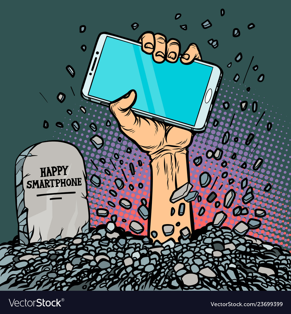 Happy smartphone zombie hand from the grave