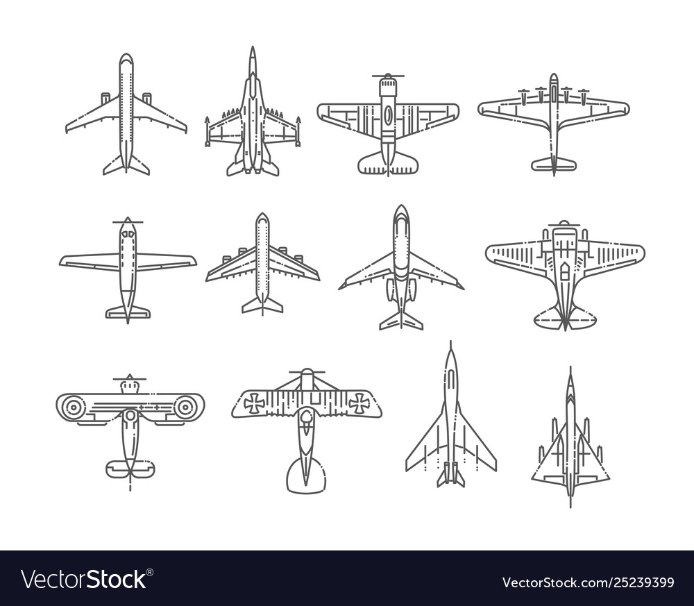 Modern types planes large and small passenger