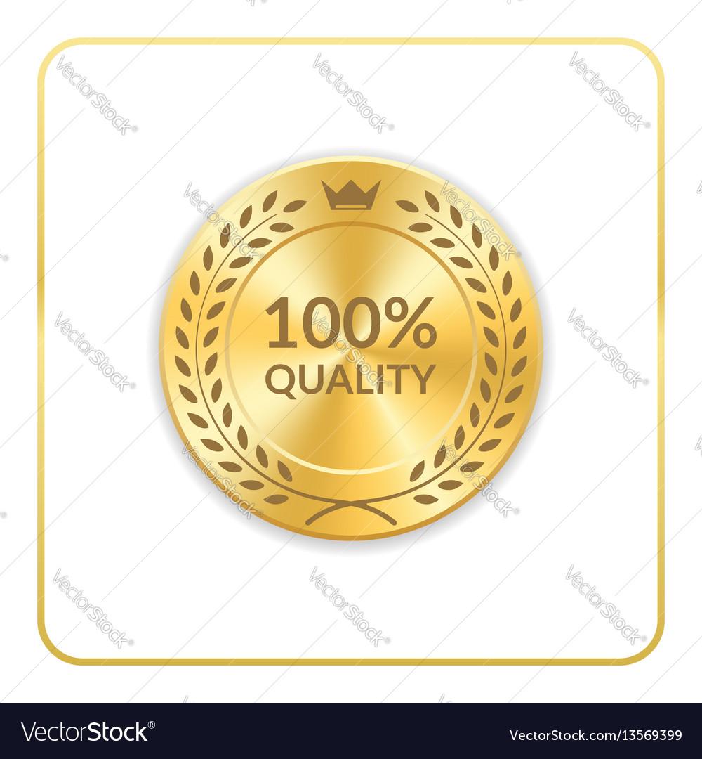 Seal award gold icon medal vector image