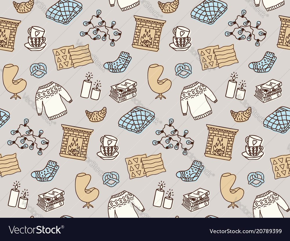 Seamless pattern with hygge concept and cozy home vector image