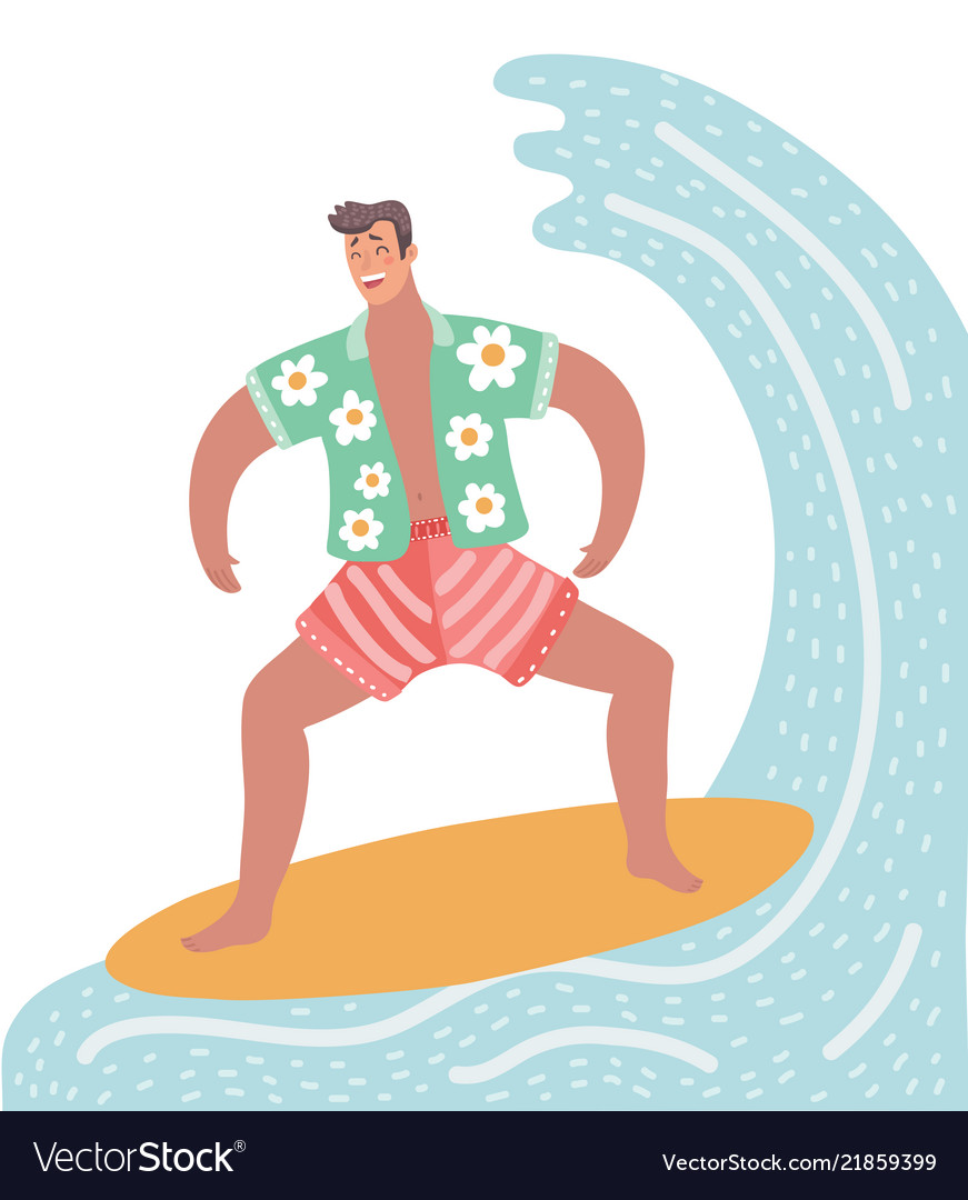 Surfer character on surfboard