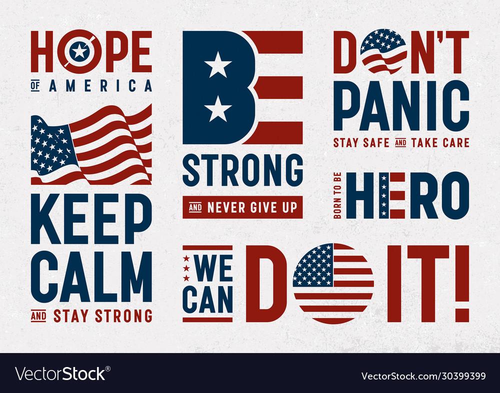Usa patriotic motivation typography and logos set