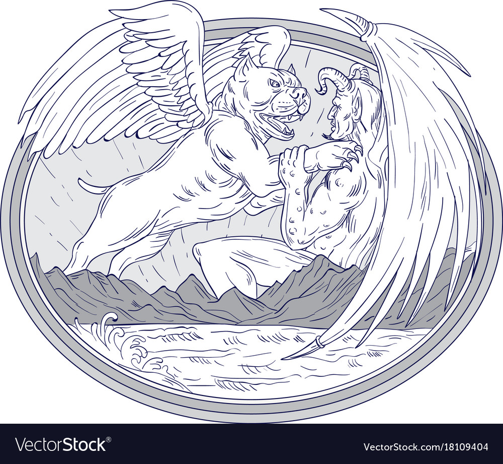 American Bully Fighting Demon Drawing Royalty Free Vector See more ideas about demon drawings, horror art, demon. vectorstock