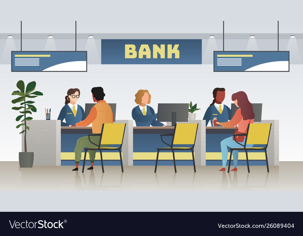 Bank office interior professional banking service