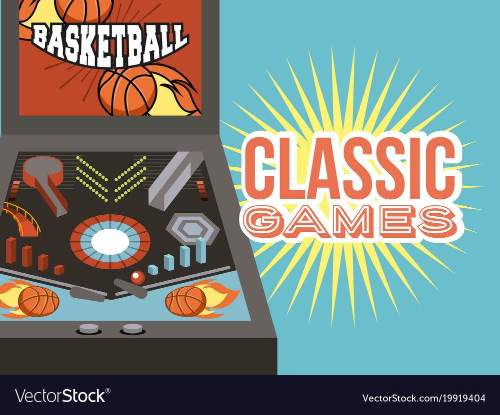 Classic games arcade device entertainment vector image