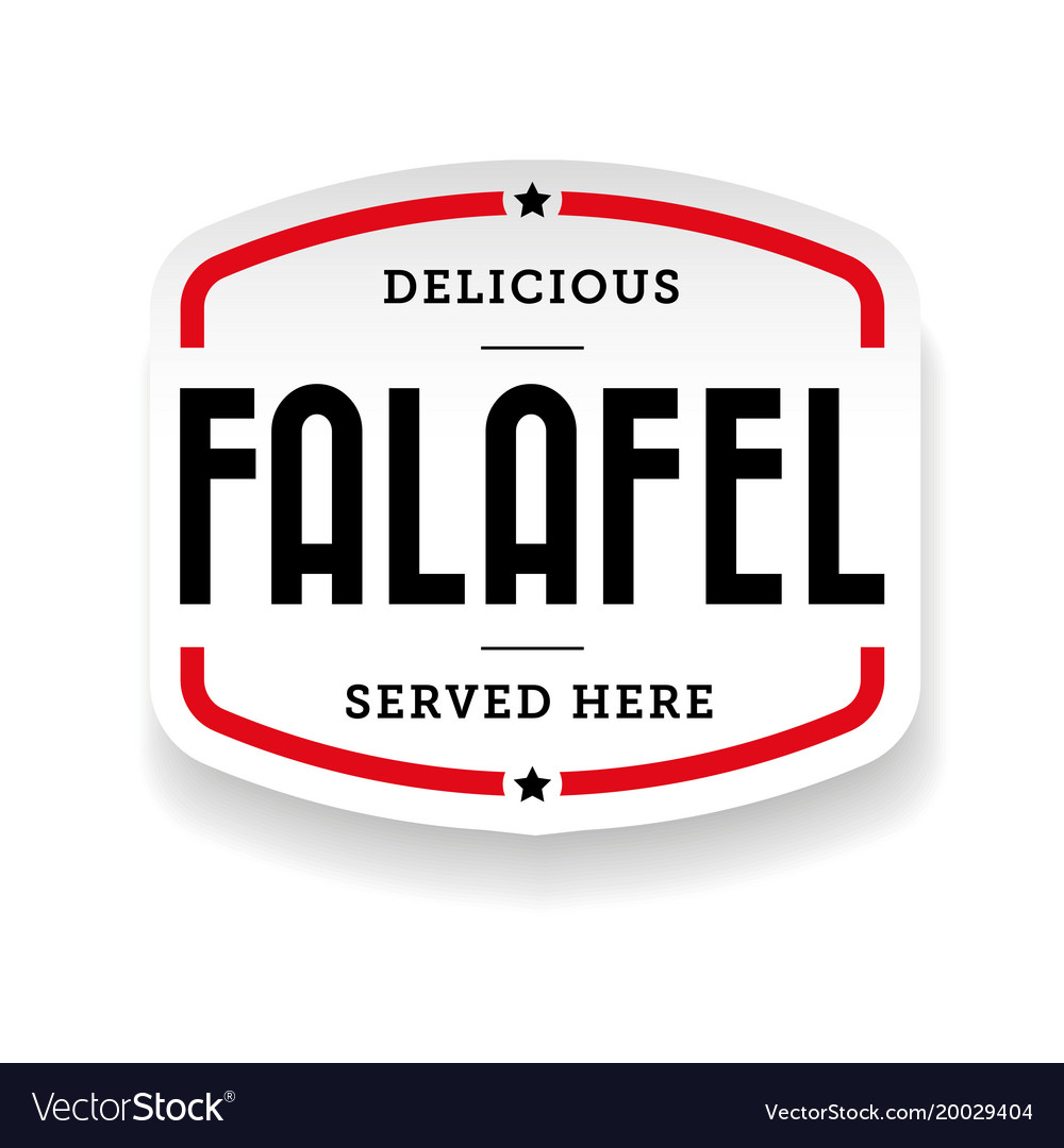 Falafel arabic cuisine label vector image