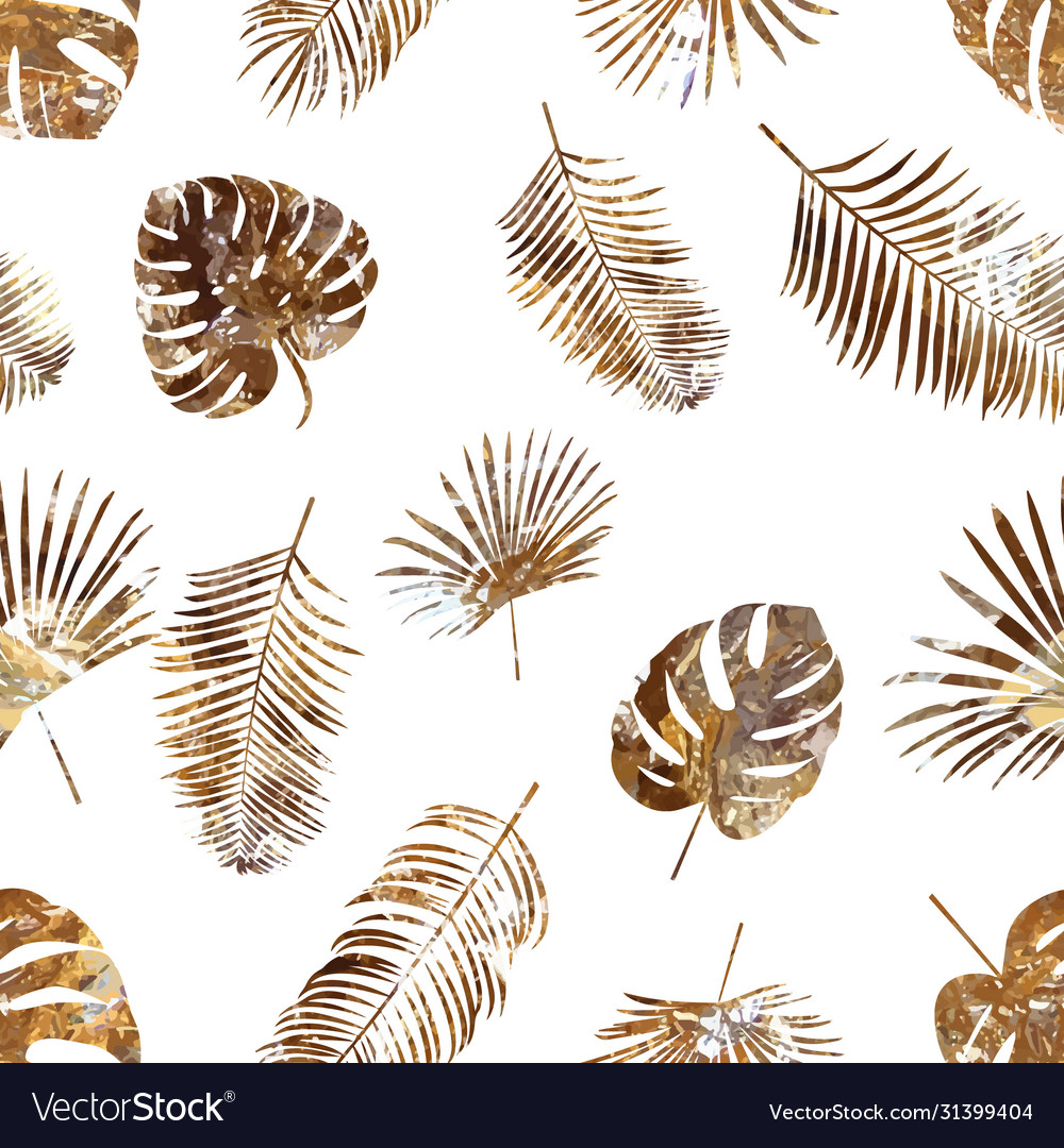 Golden palm leaf seamless pattern on white