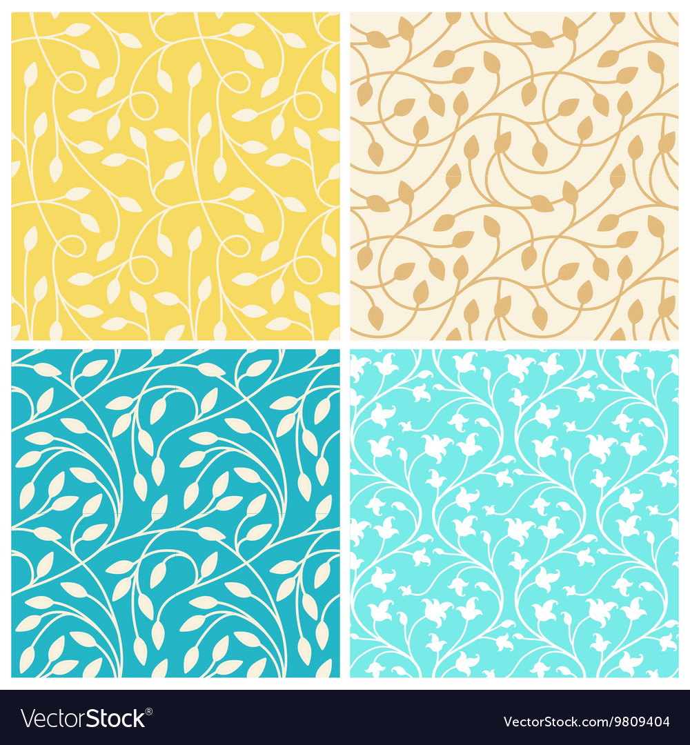 Set of seamless patterns in trendy linear style vector image