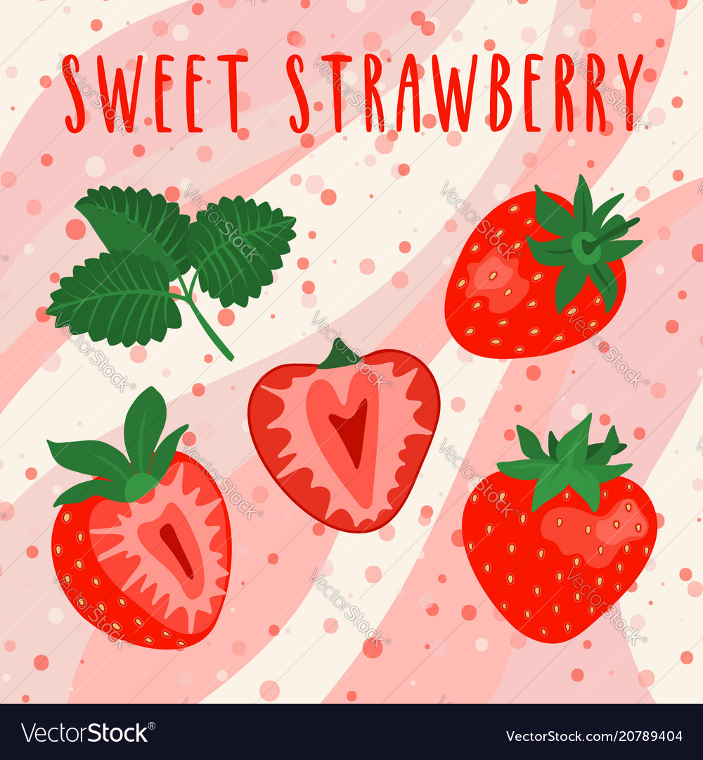 Set of sliced and whole bright strawberries