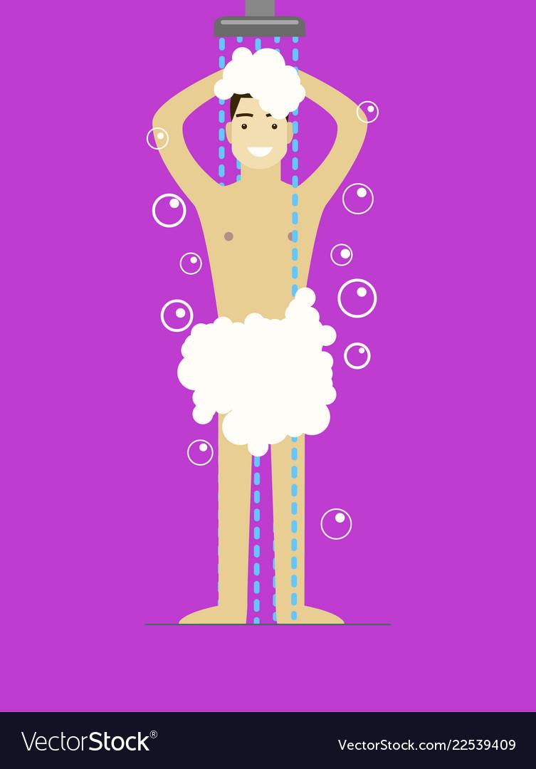 Cartoon man in foam taking shower