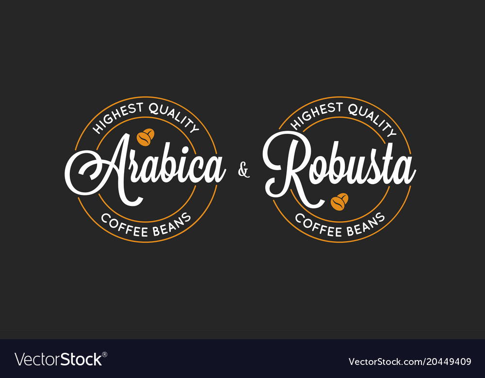 Coffee arabica and robusta logo on black vector image