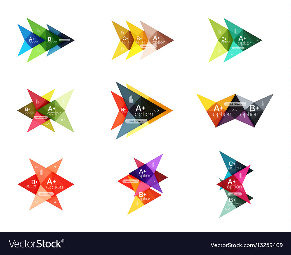 Colorful arrow option infographics banners
