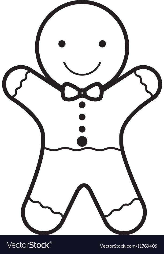 Christmas Silhouette.Cookie Christmas Silhouette With Bow In Neck