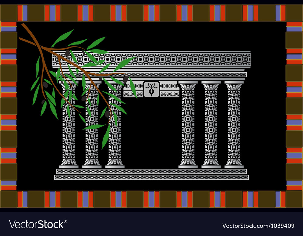 Fantasy phoenician temple and olive branch