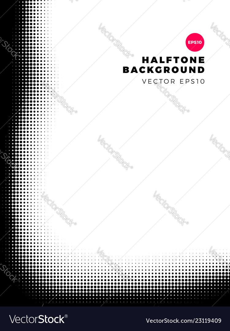 Halftone dots background left and bottom frame