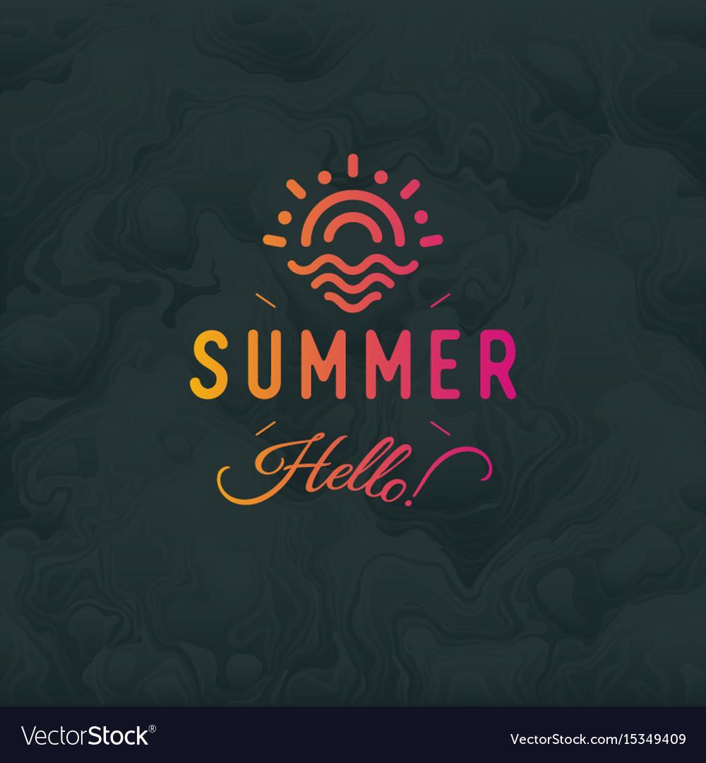 Hello summer vintage retro logotype ob