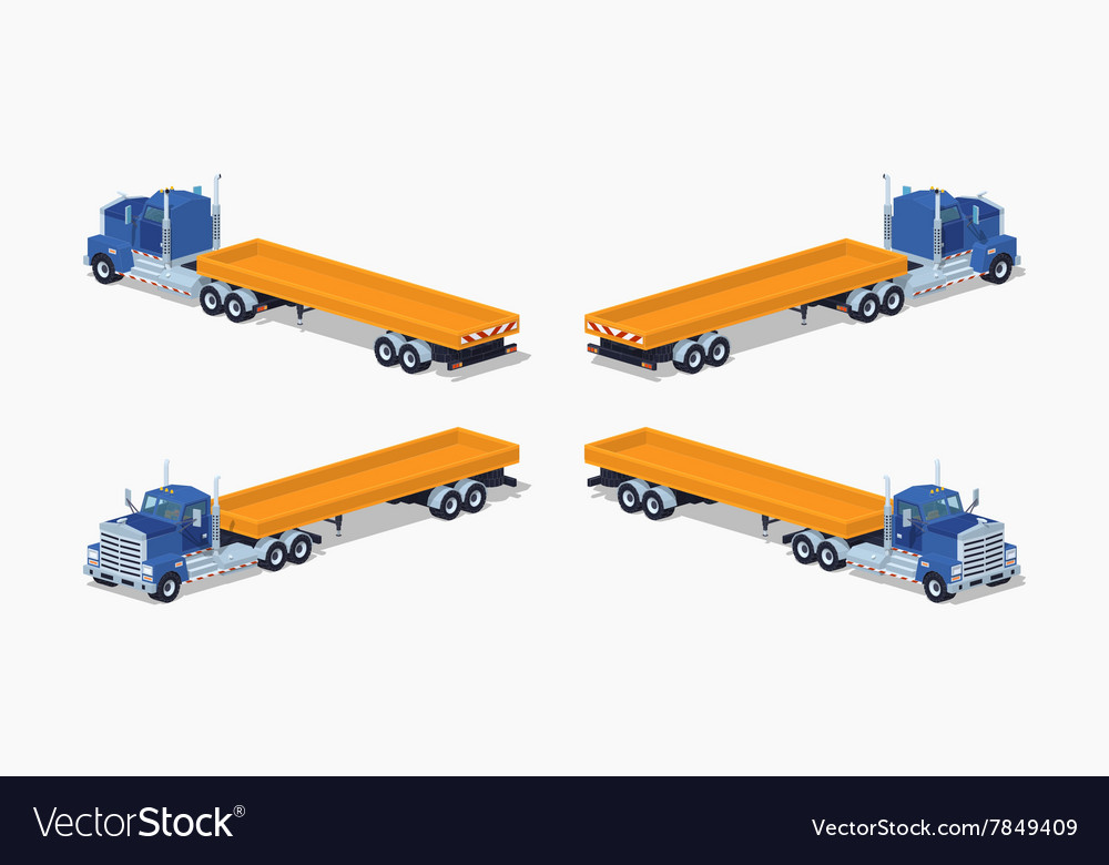 Low poly blue heavy truck and trailer with the