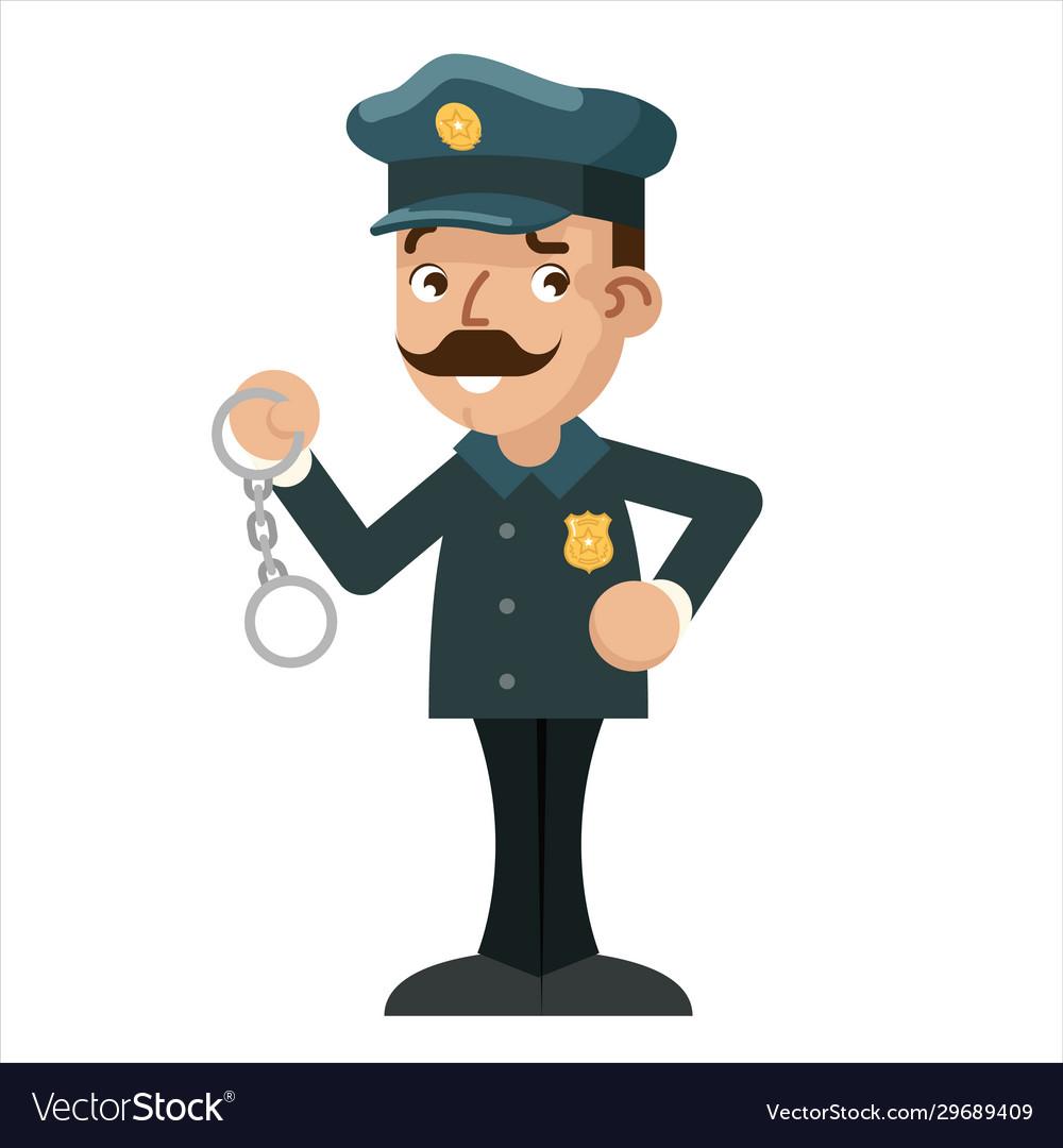Policeman detective handcuffs police cartoon flat