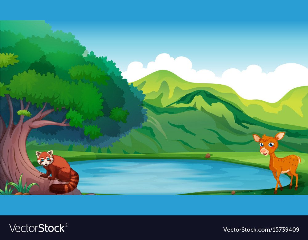Scene with deer and red panda by the pond