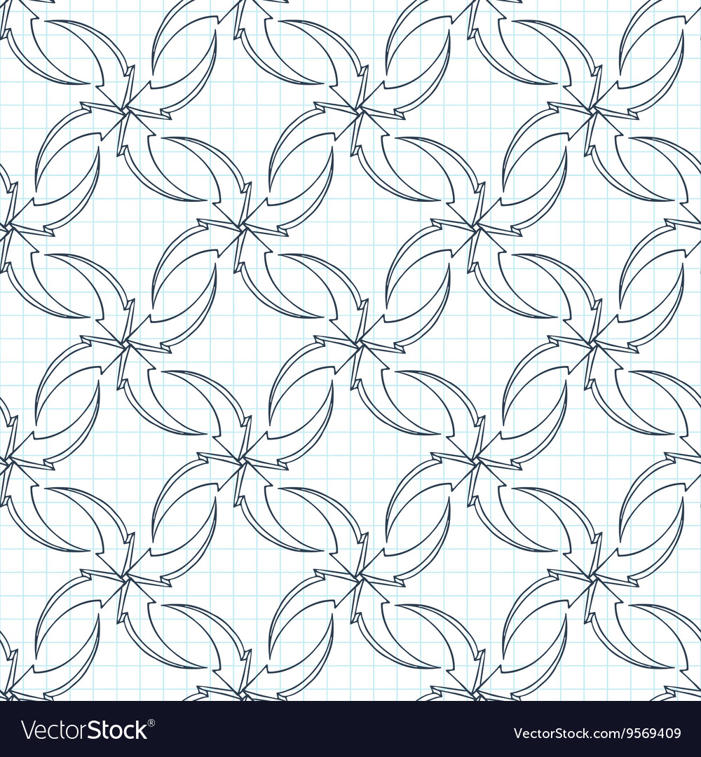 Seamless pattern of volumetric arrows on vector image