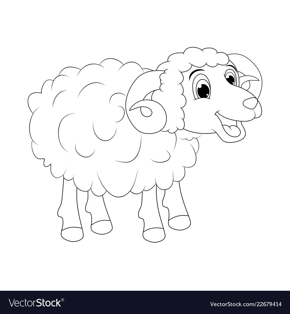 Cartoon outline ram design isolated on white