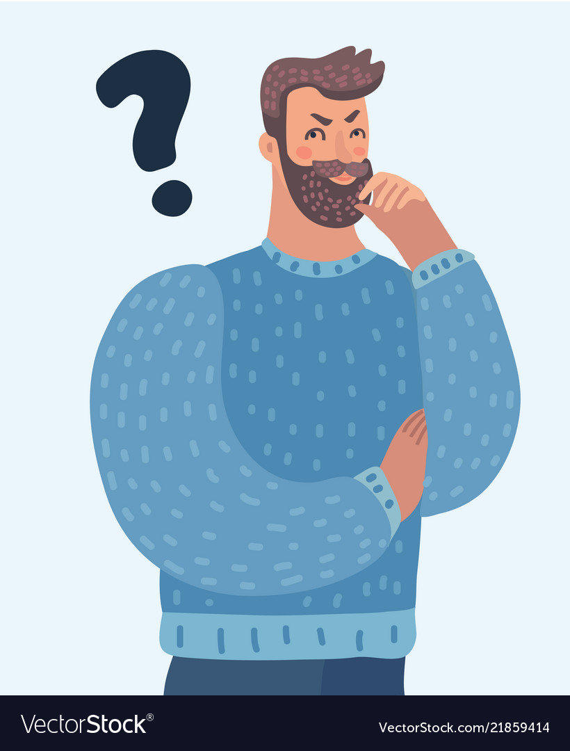 Cartoon thinking man with question mark