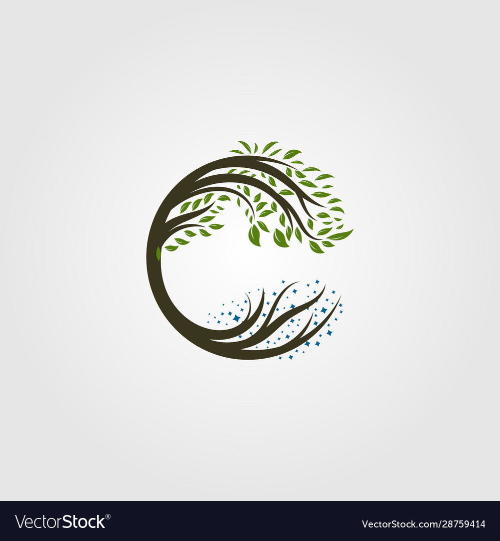 Circle tree logo letter c design
