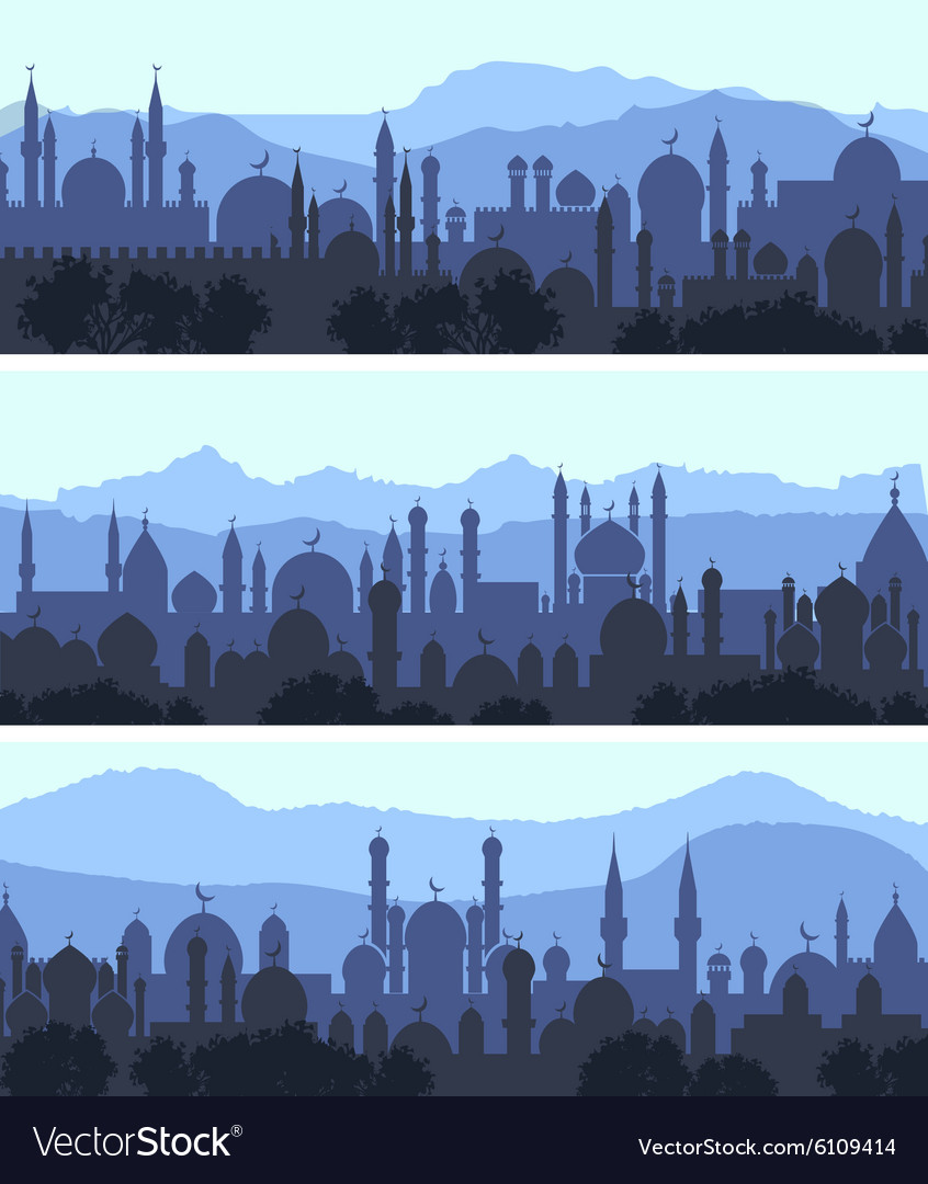 Cityscape arab city banners