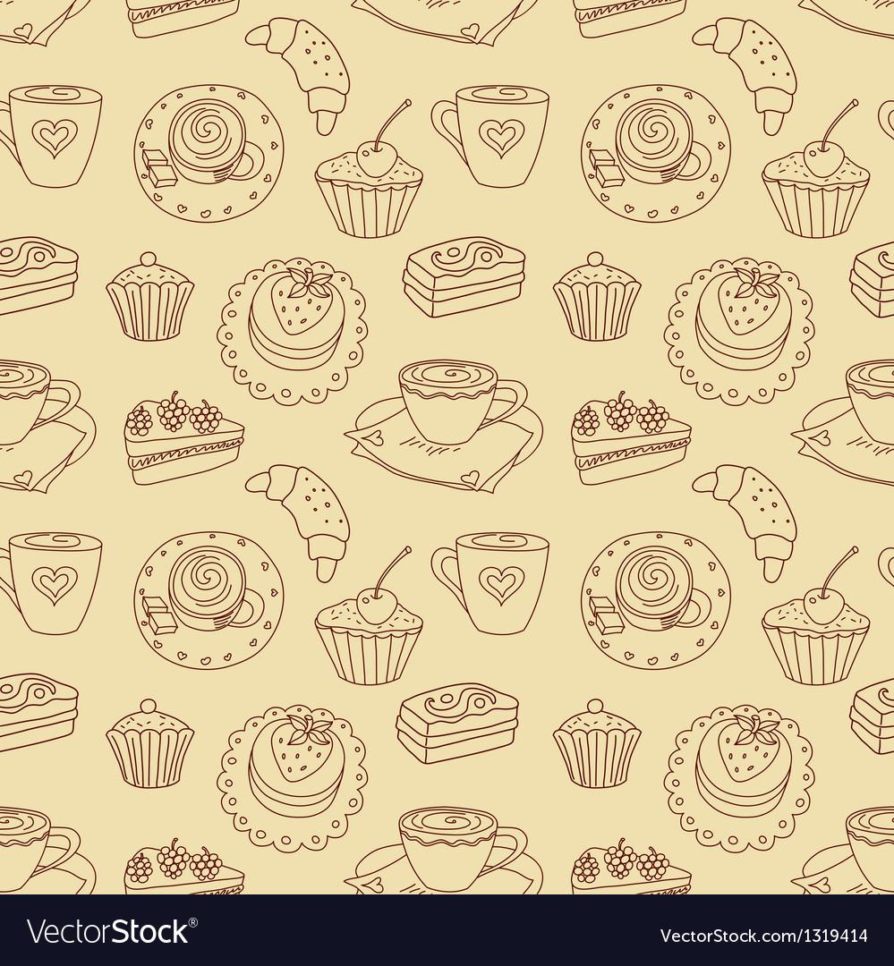 Coffee seamless line pattern