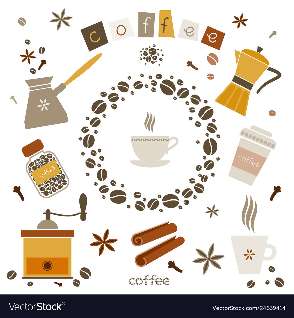 Collection of coffee design elements