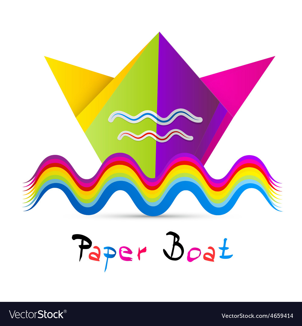 Colorful Paper Boat Isolated on White Background