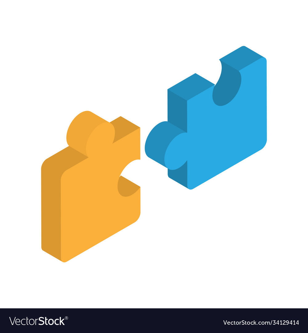 Puzzle isometric icon teamwork cooperation leader