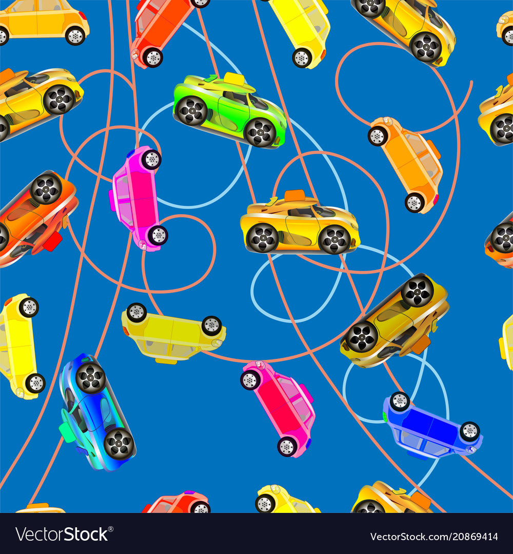 Seamless background of childrens cars