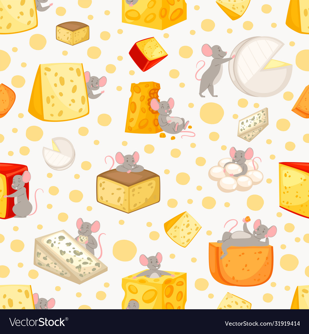 Seamless pattern sliced cheese and mice in cartoon